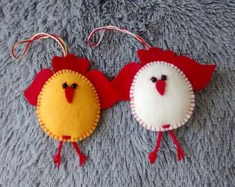 Felt Easter Chick / Felt Ornament/ Set of 2 / Easter Decor / Easter Ornament/ Handmade