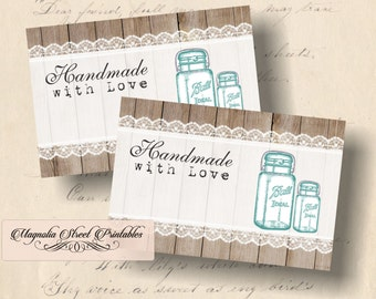 Rustic Mason Jar Tags, Handmade with Love Tags, Printable Vintage Mason Jar Tags, Favor Tags, Gift Tags, Instant Download Digital