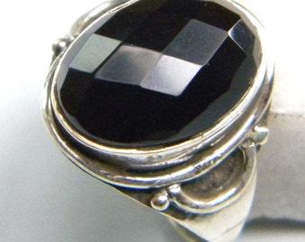 stone ring , Black Onyx ring, silver ring, handmade sterling silver ring, Black Onyx ring, ring-0314140169