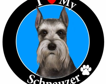 Schnauzer Gifts, I Love My Schnauzer Car Magnet With Realistic Looking Schnauzer Photograph In The Center