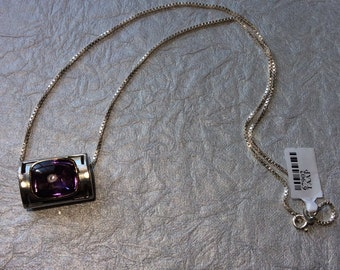 Rectangle Shaped Amethyst Two-Tone Sterling Silver Necklace