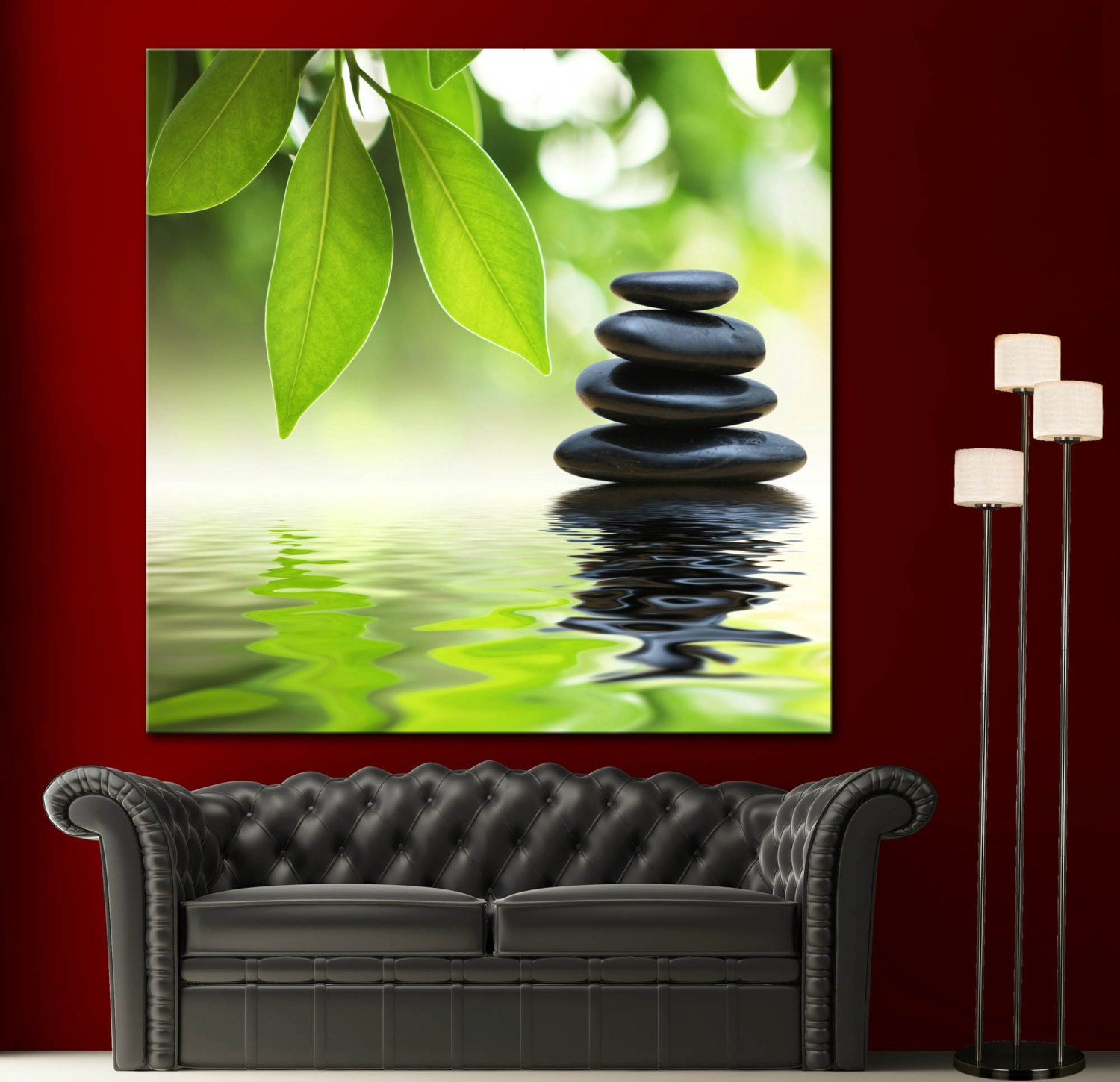 Relax Stone: Zen Bamboo Spa Stone Watter Relax Colorful Picture Wall Art