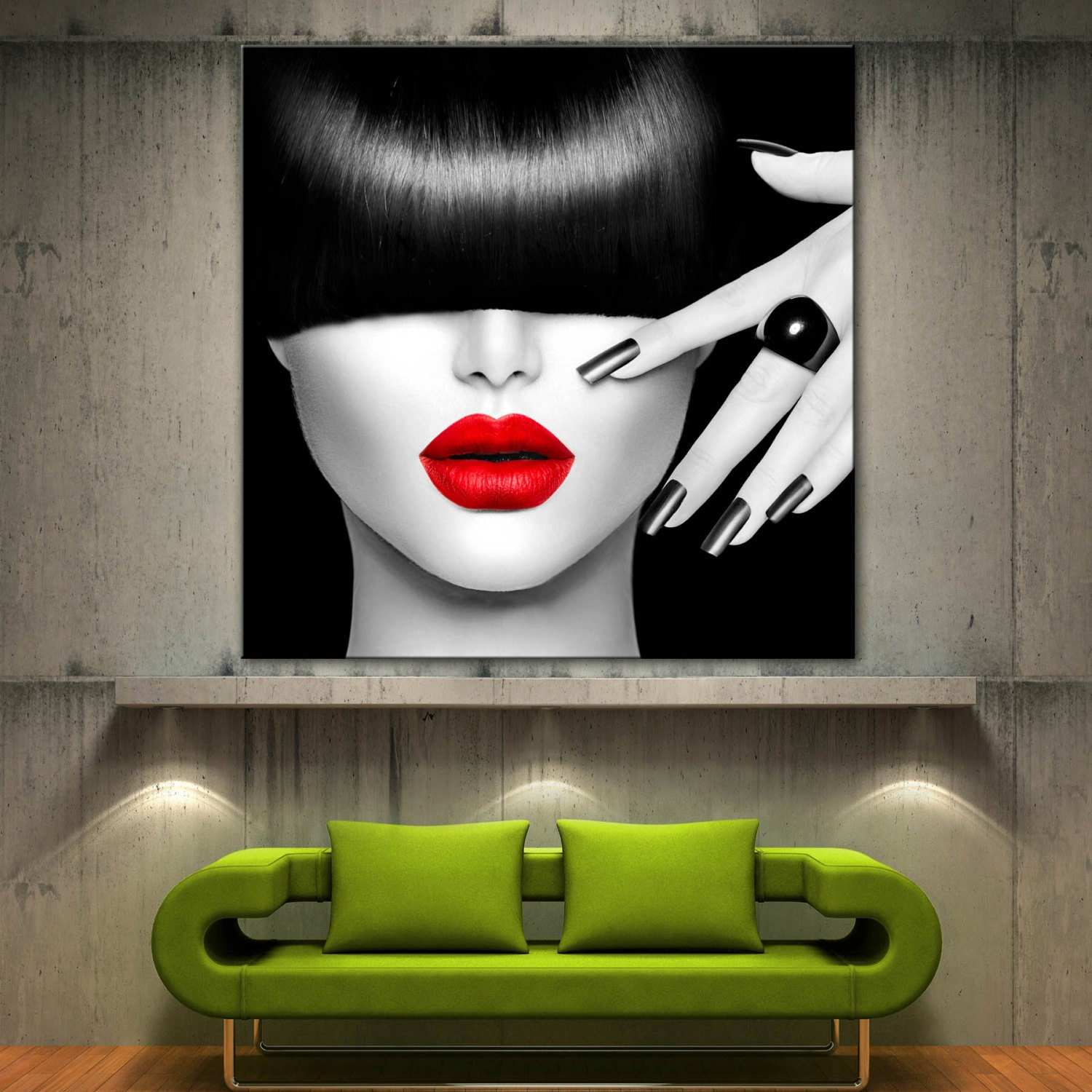 Red lips face modern home decor fine wall art black white for Fine home decor