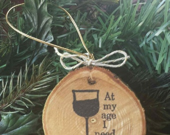 Wine Wood Slice Ornament