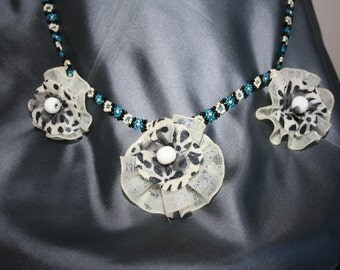 Black, Turquoise and White Beads and Flowers Necklace