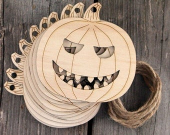 10 x Wooden Detailed Pumpkin Scary Face Craft Shape 3mm Ply