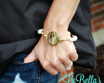 Monogrammed Wire Wrap Bracelet-Silver or Gold