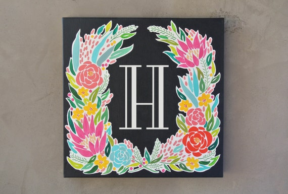 Wedding Gift Canvas Painting : to Monogram Canvas Painting Wedding Gift Idea Hand Painted Wall Art ...
