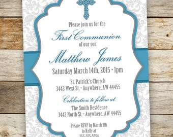Baptism Invitation Boy - First Communion Boy Invitations - Boy Christening Invitation - Cross Invitation - Confirmation Invite - Printable