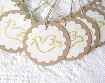 Gold Stamped Dove Christmas Tags - Handstamped Rustic Gift Tags - Set of 10 Double Layer Tags