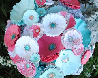 Coral/Aqua Paper Wedding Bouquet -Beads and Paper Flowers - Beaded Bridal Bouquet - Handmade - Custom Colors Available