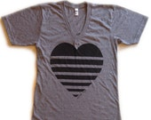 adult Striped Heart tee