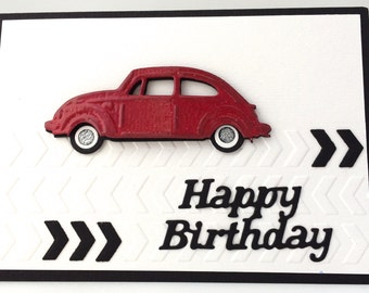 3D Red Vintage VW Beetle, Unique Handmade Card, Man's Card, Men Card, Handmade Card, Unique Man Card, Hand Made Card, Happy Birthday