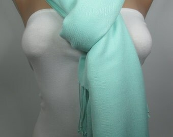 Mint Green Pashmina Scarf Fall Winter Spring Scarf Women Fashion Accessories Christmas Gift Ideas For Her Gift Ideas For Her MELSCARF