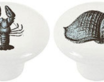 Set of 4 Old World Sea Creatures Ceramic Knobs or Drawer Pulls for Furniture or Cabinets