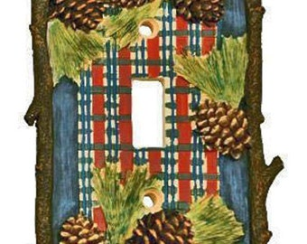 Rustic Pinecone Lodge Single Toggle Switchplate Cover