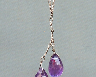 Amethyst necklace on a sterling silver chain