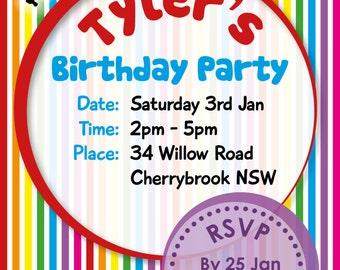 Birthday Invitations Custom Children Party Rainbow 4x6 Digital File Ready to Print