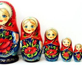 Nesting doll Tulips - nesting dolls russian matryoshka babushka nested doll matrioshka Stacking dolls kod273