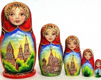 Nesting doll Moscow - nesting dolls russian matryoshka babushka nested doll matrioshka kod255
