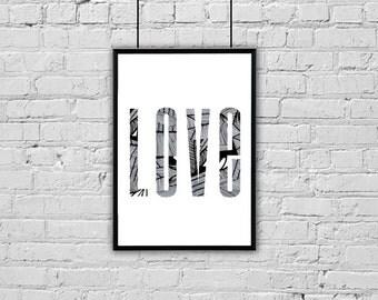 Love Zentangle Print (love, quote, zentangle, black and white, print, digital print, unframed, instant download)