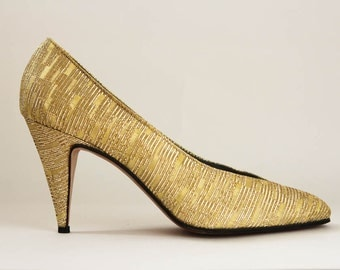 Vintage Gold Metallic High Heels, Size 7, EU 37-38
