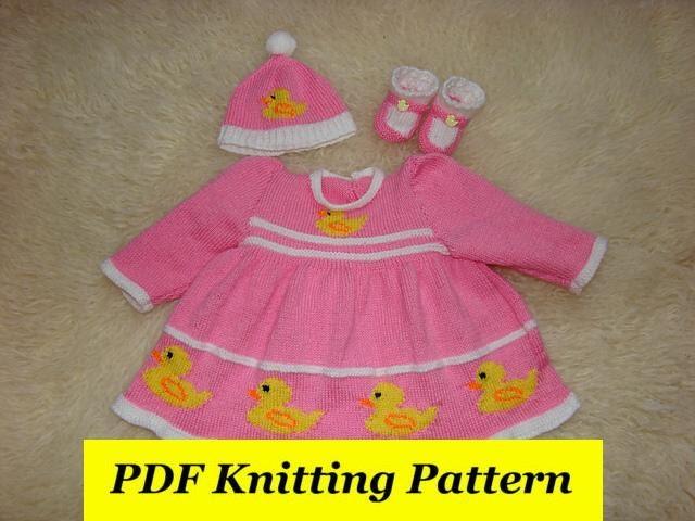 Knitting Pattern For Duck Hat : Duck DressHat & Booties Knitting Pattern Reborn /0-3/6/9/
