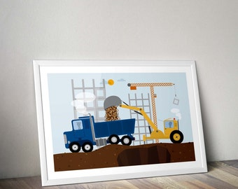 car art, car nursery, dump truck, baby boy nursery art, car poster, boy room decoration, car print,construction clipart,nursery wall art boy