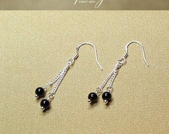 Gemstone Black Onyx earrings, Double dangle Black Onyx earrings, 925 Sterling Silver hooks, Crystal earrings, InfinityCraftArts
