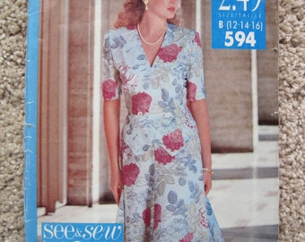 UNCUT Misses Top and Skirt - Size 12, 14, 16 - Butterick See and Sew Sewing Pattern 594 - Vintage 1991