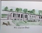 Tara's Custom House Watercolor Painting + Pet(s)