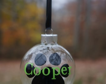 Personalized Glass Pawprint Ornament; Dog Ornament; Pet Lover; Pet; Christmas; Tree