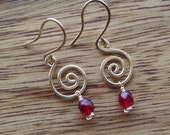 Elegant Red Wine Glass Bead on Wire Earrings