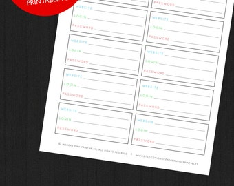 Items similar to Password Log Digital Download Binder Planner ...