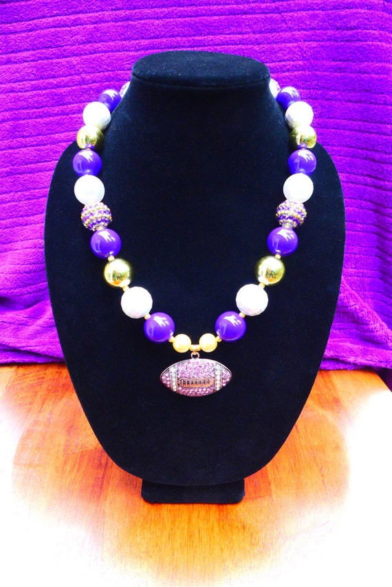 "UW Huskies, VIKINGS or LSU Tigers Inspired Purple & Gold Gameday Bubblegum Bead Chunky Necklace, Rhinestone Football (Adult Size - 21.5"")"