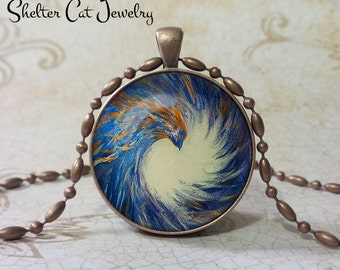 "Phoenix Rising Necklace - Print based on original artwork - 1-1/4"" Round Pendant or Key Ring - Handmade Wearable Photo Art Jewelry"