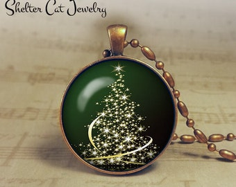 "Christmas Sparkly Tree Necklace - 1-1/4"" Circle Pendant or Key Ring - Green Tree - Christmas Present or Holiday Gift"
