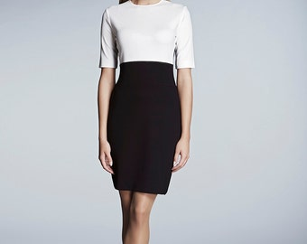 JACKIE - Block monochrome slip on jersey dress