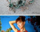jewelry set, Jewelry made of copper, flowers, Copper necklace, copper earrings, copper, Jewelry, Wire Wrapped