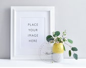 Styled Photography | Grey, White and Yellow | Frame with vase to Display Prints | Product Photography