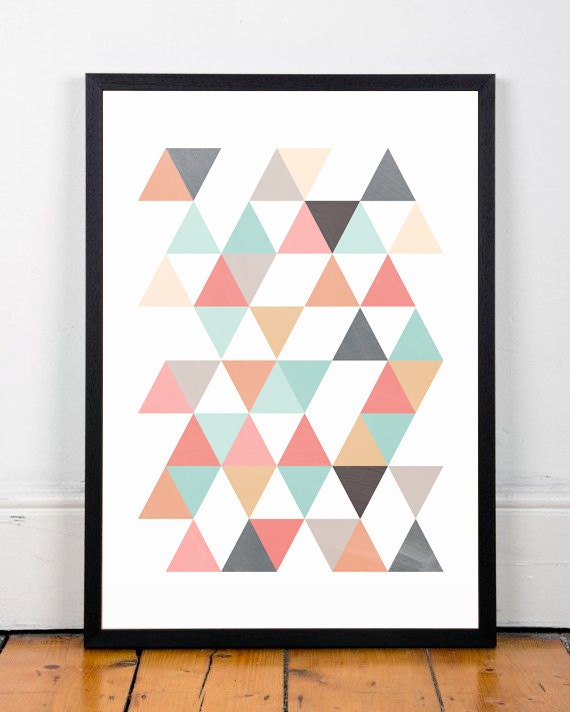 Triangles print scandinavian print abstract art office - Abstrakte kunstdrucke ...