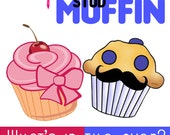 Items Similar To Cupcake Or Stud Muffin Gender Reveal Digital File On Etsy
