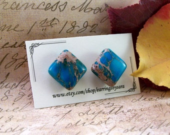 Flat Turquoise and Tan Stud Earring;