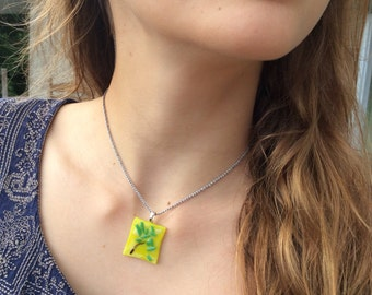 Fused glass tree necklace pendant