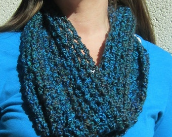 Crocheted Lacy Mobius Cowl Scarf, Blue / Teal / Brown