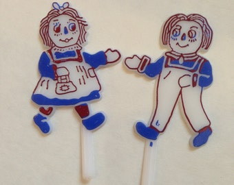 Raggedy Anne & Andy Cupcake Topper LOT