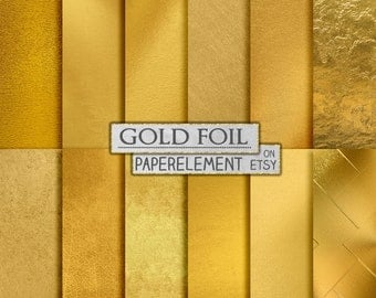 Gold Foil Digital Paper, Metallic Gold Digital Paper, Gold Paper, Gold Backgrounds, Gold Foil Paper, Gold Scrapbook Paper, Instant Download