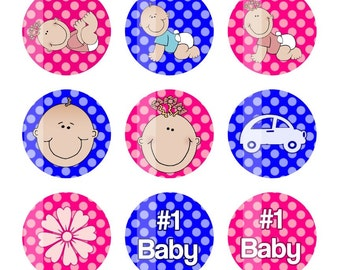 Babies 4x6 Digital Collage Sheet 1 inch Circles Bottlecap Images Baby Shower Bottle Cap Images