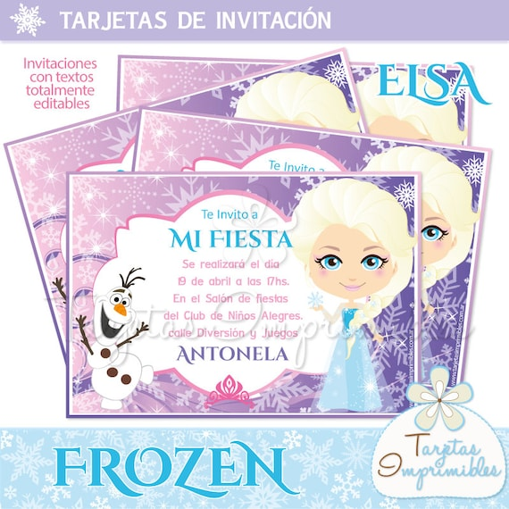 Invitations to print Elsa Frozen by Tarjetas Imprimibles Catch My Party