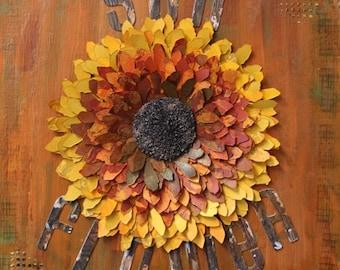 Mixed Media Sunflower Canvas, Sunflower decor, 3D mixed media Sunflower art